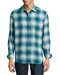 Nat Nast Forest Through The Trees Plaid Sport Shirt Cadet
