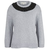 Michael Michael Kors Women's Beaded Neck Boxy Sweatshirt Pearl Heather Grey