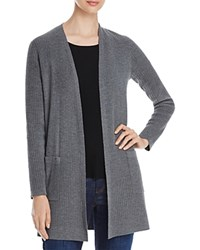 Eileen Fisher Ribbed Wool Long Cardigan Ash
