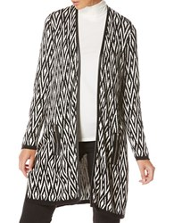 Rafaella Petite Long Sleeve Jacquard Duster Coat Black