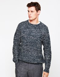 The Idle Man Colour Twist Knit Jumper Blue