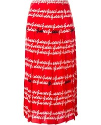 Gucci Signature Printed Silk Pleated Skirt Red Multi Coloured Silver