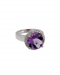 Poiray 18K White Gold Round Amethyst And Diamond Ring Purple