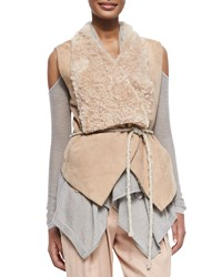 Donna Karan Self Belted Vest W Fur Collar Brown