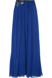 Matthew Williamson Palmeraie Embellished Silk Chiffon Maxi Skirt Blue