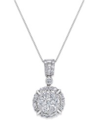 Macy's Diamond Circle Pendant Necklace 1 1 2 Ct. T.W. In 14K White Gold