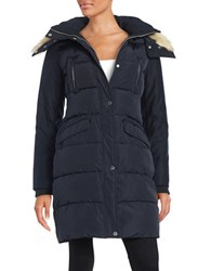 French Connection Faux Fur Trimmed Puffer Coat Utility Blue