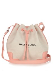 Balenciaga Ligne Leather Trim Canvas Cross Body Bag Pink Multi