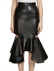 Givenchy Ruffled Cutout Leather Midi Skirt Black