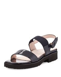 Taryn Rose Tamie Patent Double Strap Sandal Navy