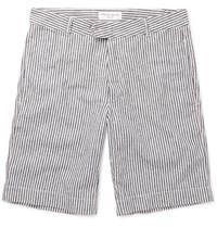 Officine Generale Striped Linen And Cotton Blend Shorts Blue