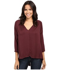 Michael Stars Romy Rayon Long Sleeve Hi Low Crossback Top Rosewood Women's Clothing Red