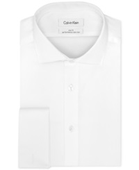 Calvin Klein Steel Non Iron Slim Fit Solid Performance French Cuff Shirt White
