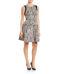 Rachel Roy Animal Print Scuba Dress Black Nude