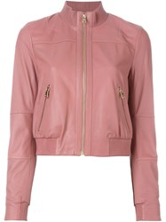 Twin Set Leather Bomber Jacket Pink And Purple