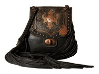 American West Winslow Fringe Flap Crossbody Black Cocoa Gold Cross Body Handbags