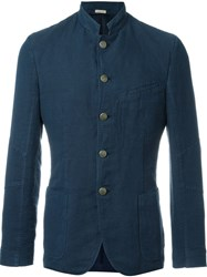 Massimo Alba Mandarin Collar Fitted Jacket Blue