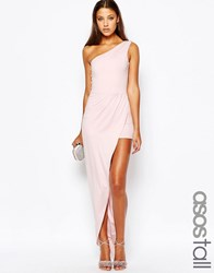 Asos Tall One Shoulder Occasion Maxi Playsuit Nude Pink
