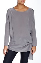 Gold Hawk Solid Wedge Silk Blouse Gray