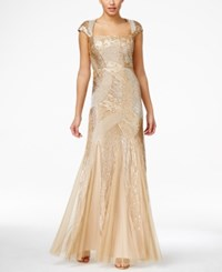 Adrianna Papell Sequin Beaded Ball Gown Gold