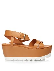 See By Chloe Crossover Front Flatform Sandals Tan