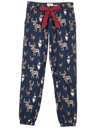 Fat Face Animals With Antlers Print Pyjama Bottoms Navy