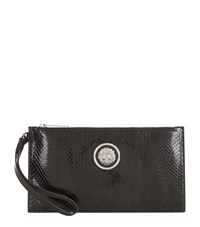 Versus By Versace Versus Versace Snakeskin Embossed Wristlet Clutch Female Black