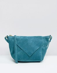 Asos Suede Festival Cross Body Bag With V Flap Green