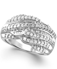 Macy's Diamond Multi Row Statement Ring 1 Ct. T.W. In 14K Gold Plated Sterling Silver Or Sterling Silver