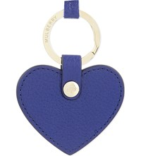 Mulberry Leather Heart Keyring Neon Blue