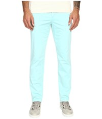 Versace Front Pleat Stretch Chino Pants Aqua Men's Casual Pants Blue