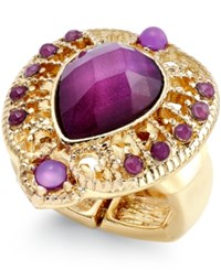 Styleandco. Style And Co. Gold Tone Purple Crystal Stretch Ring Only At Macy's