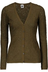 M Missoni Open Knit Cardigan Army Green