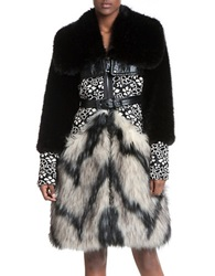Tracy Reese Faux Fur And Floral Lace Mixed Media Coat Black