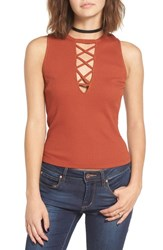 Chloe And Katie Women's Lace Up Crop Tank Rust