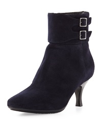 Aquatalia By Marvin K Melissa Double Buckle Suede Bootie Navy