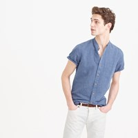 J.Crew Short Sleeve Band Collar Shirt In Indigo Irish Linen