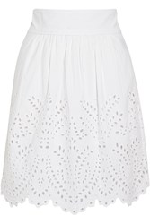 Etoile Isabel Marant Sara Broderie Anglaise Cotton Mini Skirt White