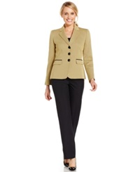 Le Suit Three Button Contrast Jacket Pantsuit Zest Black