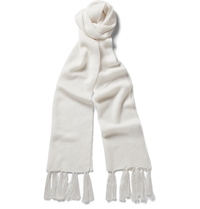 Kilgour Knitted Silk Scarf White