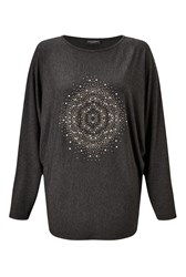 James Lakeland Studded Batwing Top Charcoal