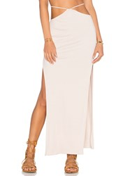 Indah Gigi High Slit Maxi Skirt Beige