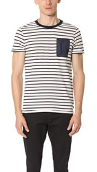 Scotch And Soda Nylon Pocket Tee White Stripe