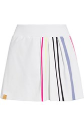 Monreal London Striped Pleated Stretch Jersey Tennis Skirt White