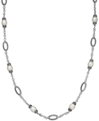 Honora Style Cultured Freshwater Pearl 8 1 2Mm Link Necklace In Sterling Silver White