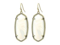 Kendra Scott Elle Earring Antique Brass White Banded Agate Earring Gold