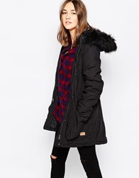 Only Parka Jacket With Faux Fur Hood Black