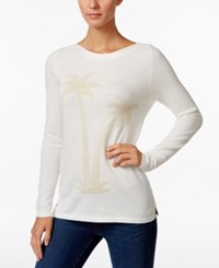 Charter Club Metallic Palm Tree Sweater Only At Macy's Cloud Combo