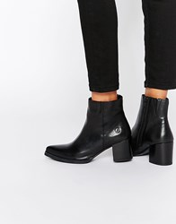 Bronx Point Heeled Leather Ankle Boots Black Nappa