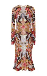 Naeem Khan Long Sleeve Flounced Hem Sequin Midi Dress White Gold Tangerine